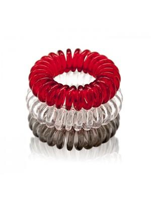 Gumyčių plaukams kolekcija Super Hairbands 3 vnt. (juoda, raudona, permatoma)