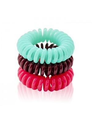 Gumyčių plaukams kolekcija Super Hairbands 3 vnt. (kavos, rožinė, mėtinė)