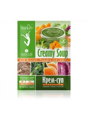 Kreminė grietinėlės sriuba su brokoliais, moliūgais ir lęšiais 25 g.